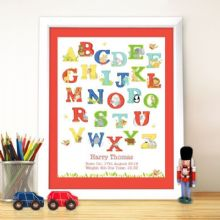 Personalised Animal Alphabet White Framed Poster Print P0512Y38